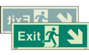 448DST/R - DOUBLE-SIDED EXIT SIGN DOWN TO THE RIGHT OR DOWN TO THE LEFT 120 x 340mm